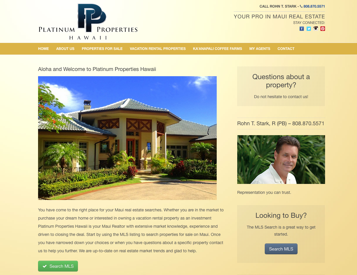 Platinum Properties Hawaii Website